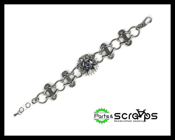 Recycled Bike Chain Bracelet Layered Flowers and by PartsAndScraps