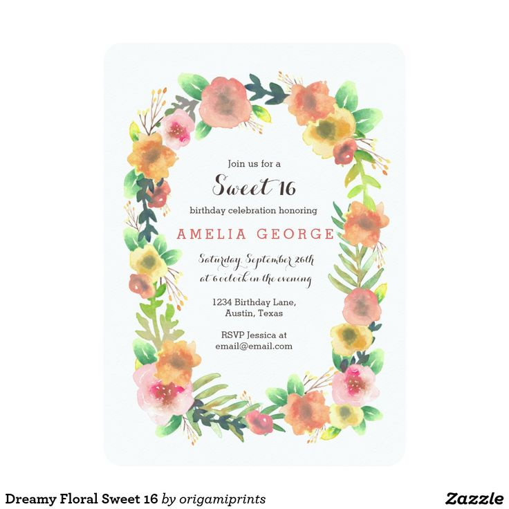 Dreamy Floral Sweet 16 Card