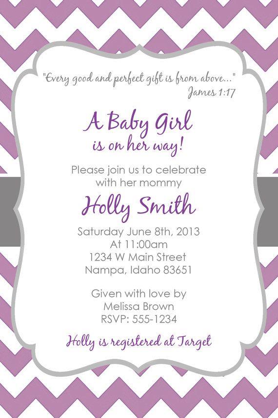 Purple & Grey Baby Shower Invitation!!