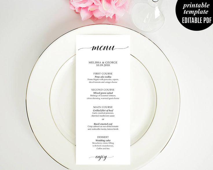 Wedding Menu Template, Classic Wedding Menu, Elegant Calligraphy Modern Wedding Menu, PDF Download Editable by Violetweddingshop on Etsy