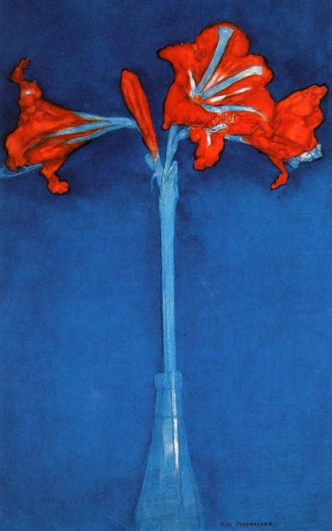 Piet Mondrian. Yes, that Mondrian.: Red Amarylli, Piet Mondrian Flowers, Modern Art, Warm Koud, Piet Mondrian, Colors, Blue Backgrounds, Painting, Koud Contrast