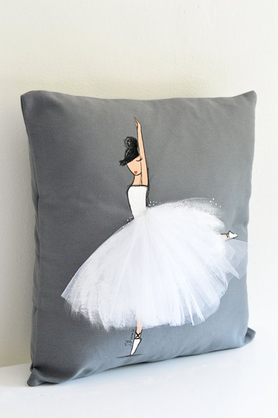 Unique handmade ballerina cushion cover! (hand painted ballerina and hand sewn tutu), ideal for a little girls room, nursery, baby shower, birthday gift, or any ballerina lovers!  - Grey cushion cover with ballerina in WHITE tutu - The price includes one hand painted pillow cover only (insert NOT INCLUDED) - We recommend to use a larger insert size for a full/chubbier pillow look! (ie. use an 18x18 insert for a 16x16cover) - Hand wash in cold water, mild detergent, and air dry…