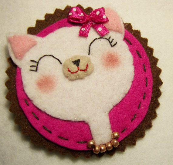 Felt Cameo Cat by feltcameos at Etsy :)