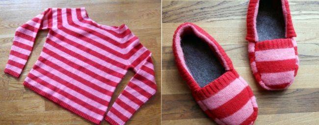 Всем любителям мастерить и создавать необычные вещи из простых материалов мы предлагаем еще одну заманчивую идею… Сшить комнатные тапочки из ненужного свитера — легко и просто. Если ты увлекаешься рук…