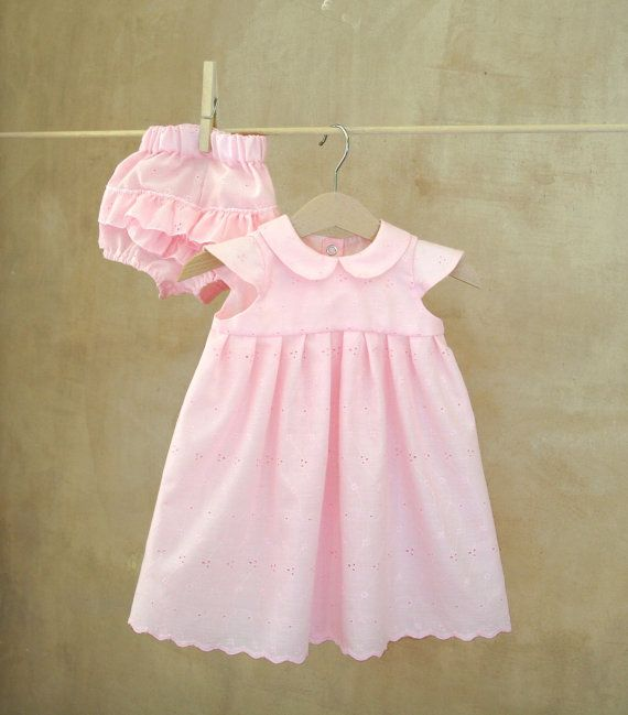 Pink eyelet lace Baby girl Outfit Dress and Diaper Cover