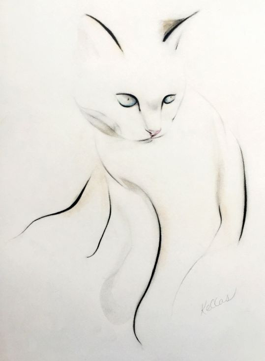 ARTFINDER: Gentle time before sleep by Kellas Campbell - My beautiful cat, Charlie, in graphite and pastel pencils and Chinese calligraphy ink.  Also, there is a touch of iridescent gold pastel, which will gleam in...
