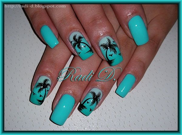 Mint with Palm trees by RadiD - Nail Art Gallery  nailartgallery.nailsmag.com by - 72 Best Palm Tree Nail Designs Images On Pinterest Palm Tree