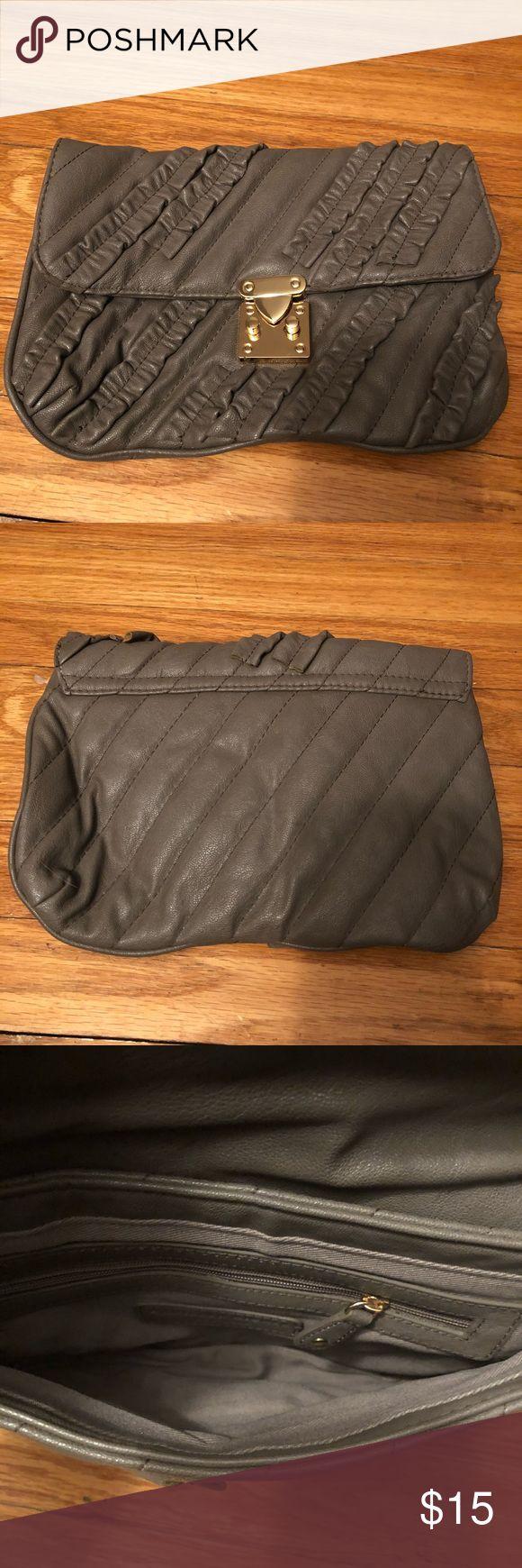 Grey ruffled clutch Grey clutch bag. Worn once. Bags Clutches & Wristlets