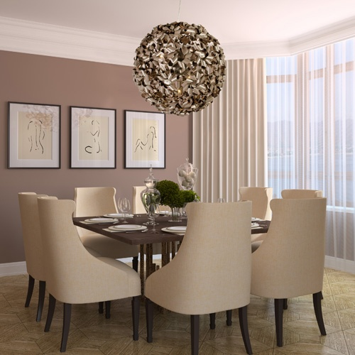 Love what's above the dinner table: Dining Rooms, Bronze Pendants, Lights Pendants, Recycled Aluminum, Design Portfolio, Dinners Tables, Abstract Drawings, Pendants Lights, Dining Tables