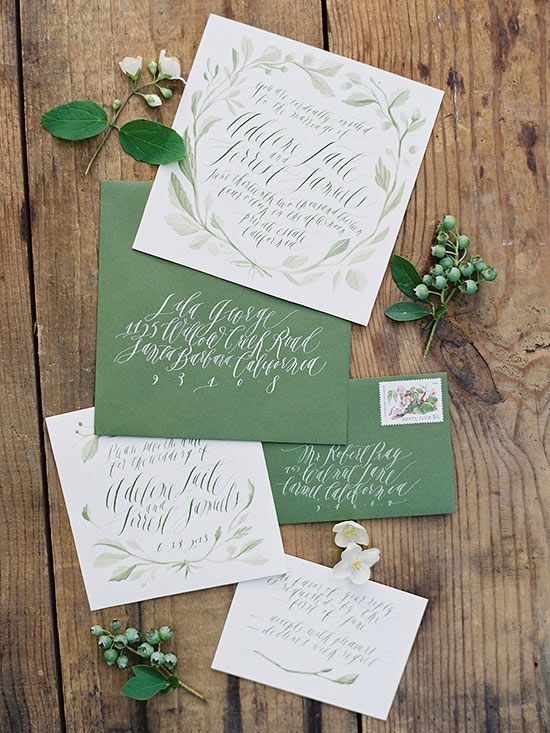 Perfect for an outdoor wedding, these watercolor invitations showcase the beauty of nature in one earthy shade of green. http://www.bhg.com/wedding/invitations/editors-picks-our-favorite-wedding-invitations/