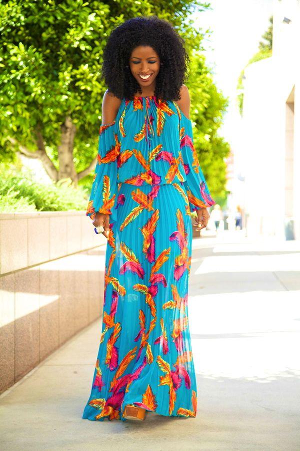 Bohemian Pleated Maxi Dress
