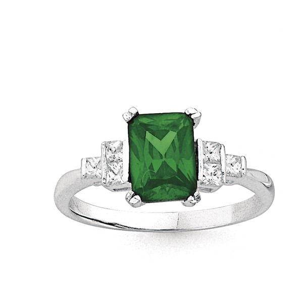 Sterling Silver Created Green Stone