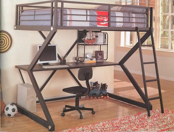 Dorm Room or College Apartment Furniture: Work Stations, Workstation Loft, Desks, Matte Black, Full Workstation, Loft Bunk Beds, Loft Beds, Bedrooms Ideas, Kid