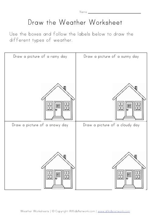 Weather worksheet for kinder