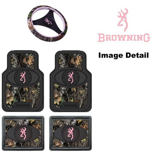 SAVE $16.87 - #Browning Arms Company Pink Buckmark Brand Camo Logo Car Truck SUV Front & Rear Seat Heavy Duty Trim-to-Fit Rubber Floor Mats and Steering Wheel Cover Set - 5PC $69.12