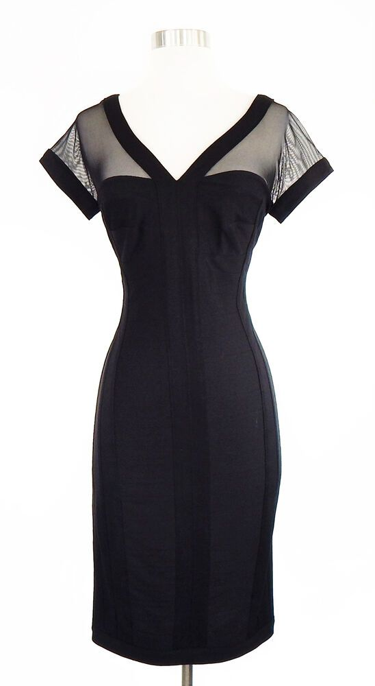 695bdb73488 T by Tadashi NWT NEW Black Bandage Stretch Style Sheer Sleeve Bodycon Dress  XS  TadashiShoji