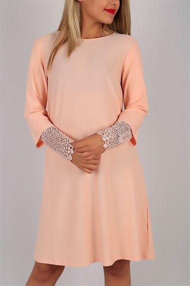 Kolları Dantel Pudra Elbise Tunik 5633B