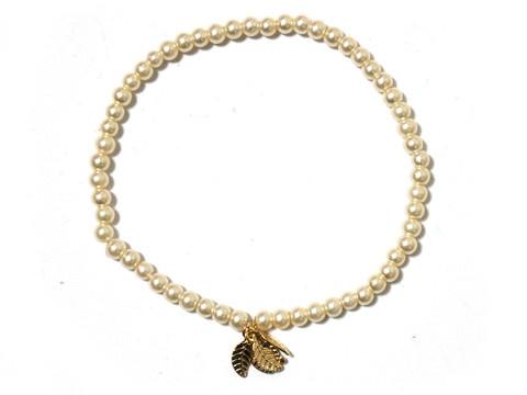 Glass pearls with Tiny leaves charm, Stretch Bracelet, bridemaid bracelet
