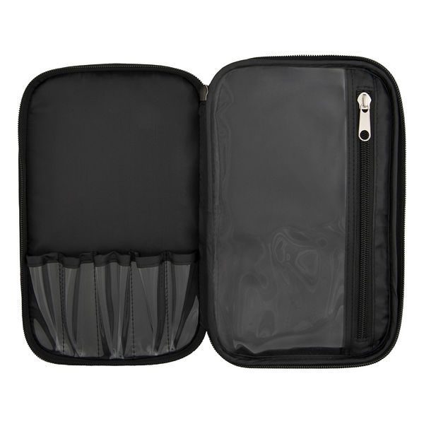 Black Large Double Zipper Makeup Bag