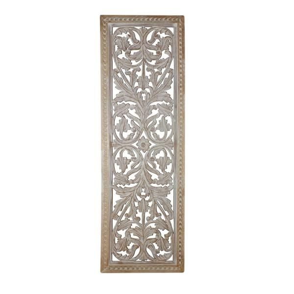 Benzara Attractive Mango Wood Wall Panel With Intricate Details Bm01909 The Home Depot In 2020 Wood Panel Walls Decorative Wall Panels Wall Paneling