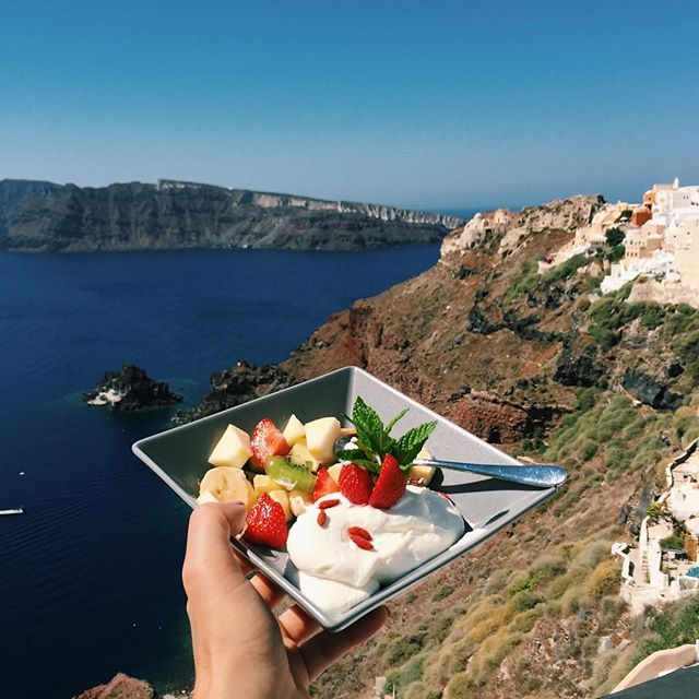 Healthy & tasty with fantastic view! Where else? #ArtMaisons #Santorini Photo credits: @anastasiaashley