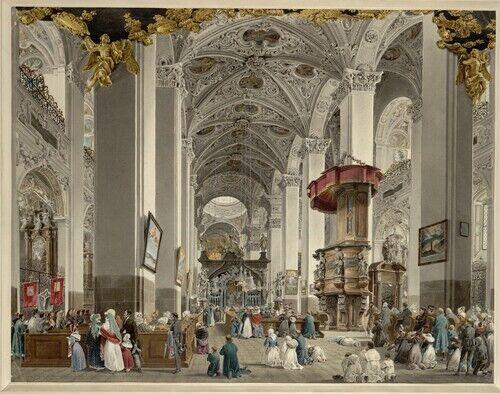 Eduard Gurk, Das Innere der Basilika von Mariazell (Guckkastenblatt), 1833 © Albertina, Wien