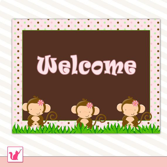 party welcome sign jungle monkey pink polka dots birthday or baby shower printable party. Black Bedroom Furniture Sets. Home Design Ideas