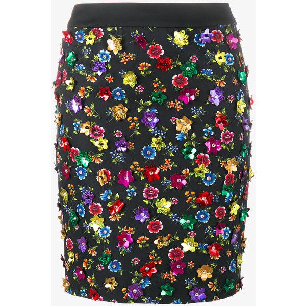 Moschino floral embellished skirt ($360) ❤ liked on Polyvore featuring skirts, mini skirts, sequin mini skirt, embellished skirt, high waisted sequin skirt, high waisted floral skirt and short sequin skirt