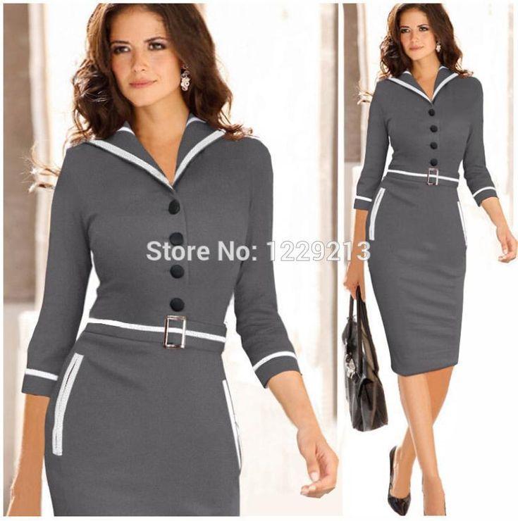 2015 Femmes elegant Belted manches longues Colorblock Tunique travail Business Casual Parti moulante Pencil gaine Wiggle robe