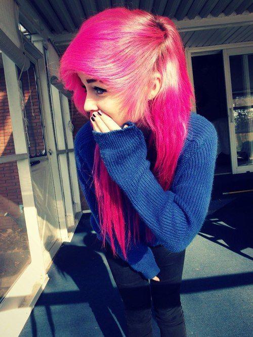 pink bubblegum colored hair