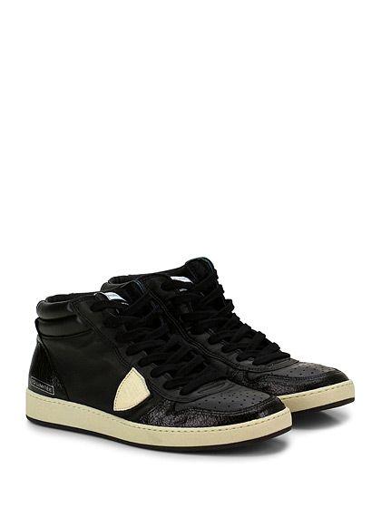 PHILIPPE MODEL PARIS - Sneakers - Uomo - Sneaker in pelle e pelle effetto crack con logo su lato esterno e su linguetta, suola in gomma. Tacco 30, platform 20 con battuta 10. - BLACK - € 275.00