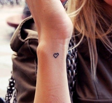 small heart outline tattoo ~ the answer is always LOVE