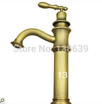 Free shippng Luxury Antique Brass Polished tall basin tap,Single Handle faucet in Kitchen Bathroom ,bathroom products #Affiliate