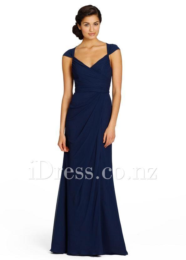 side slit indigo chiffon cap sleeve sweetheart bridesmaid gown idress.co.nz