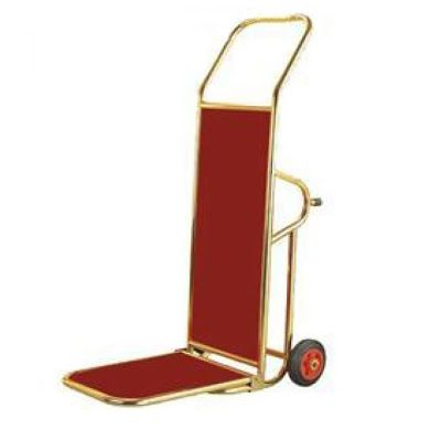 Compact Porters Trolley, Brass Plated Finish