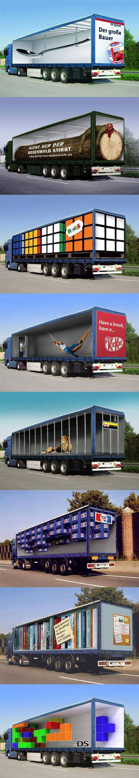 Here are some clever optical illusion truck ads that designed to play mind tricks.