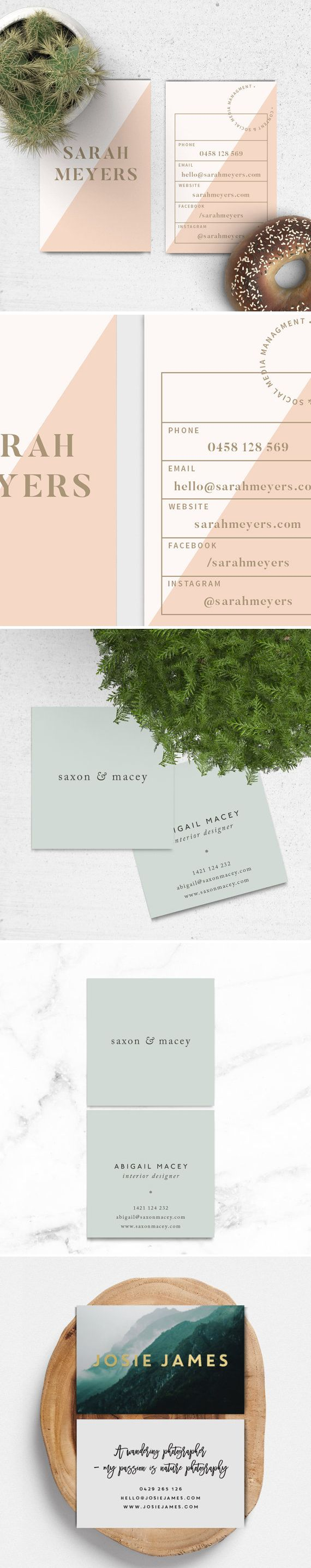 "Premade Business Card Design // Blush, Gold, Modern, Elegant, Colorblock, Business Branding, Modern, Geometric, Triangles, Bold - ""Sarah"" // StoriesDesignStudio #graphicdesign #branding"
