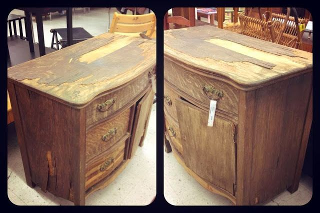 Salvaged Thrift Store Dresser...look at the after pics. Quite a transformation.