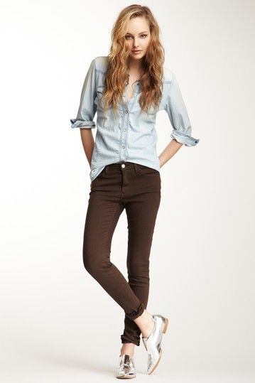 Light Denim Shirt, Dark Brown Skinny Jeans and Silver Shoes