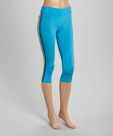 Turquoise Stripe Performance Capri Yoga Pants