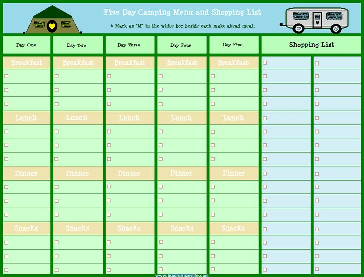 1000 Ideas About Camping Meal Planner On Pinterest