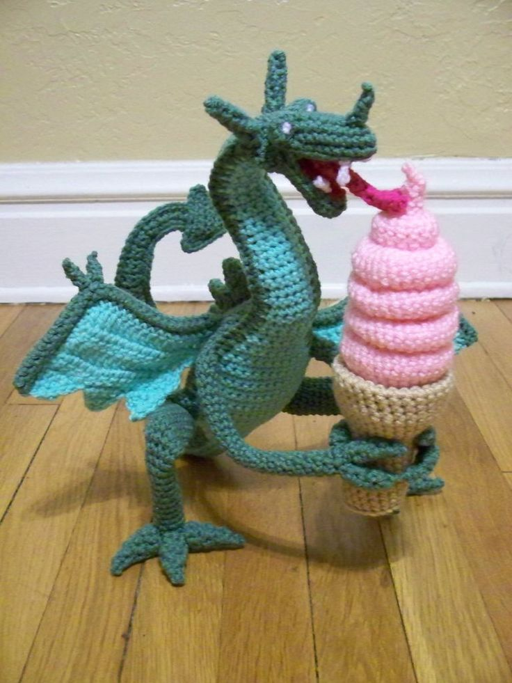 Crocheted Dragon Eating Ice Cream by knittingkneedle