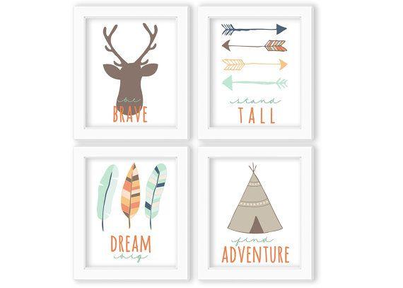 Tribal Theme   Set of Four Nursery Prints   Instant Download   Digital Prints