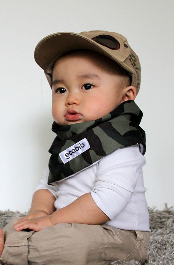 """Modern Bib (Camouflage) All in One Scarf & Bib """"Scabib""""tm for babies or toddlers"""