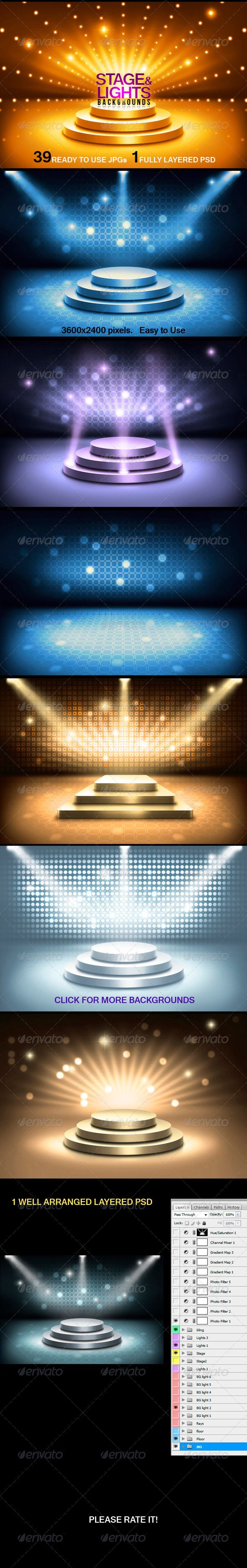 Stage and Lights Backgrounds - #3D #Backgrounds
