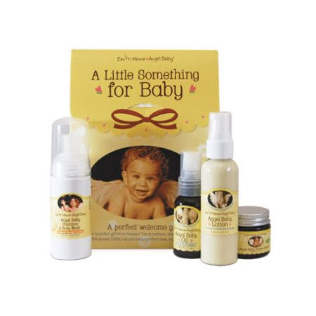 Here's a perfect little gift for a perfect little baby! Adorable on-the-go sized versions of Earth Mama's pure, natural bubblers, soothers, and smoothers. A Little Something For Baby includes naturally safe Angel Baby Shampoo and Body Wash, best selling, rash busting Angel Baby Bottom Balm, soothing Angel Baby Lotion and pure, virtually scent-free Angel Baby Oil. Zero toxin goodness, just what you expect from Earth Mama!