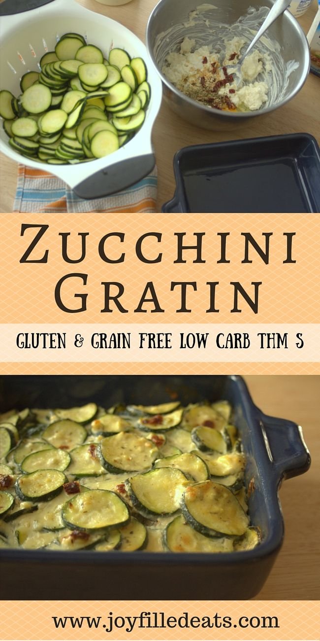 Zucchini Gratin - My baked zucchini gratin has sun-dried tomato and feta cheese which give it a Mediterranean vibe. It is grain-gluten-sugar free, low carb, and a THM S. via @joyfilledeats