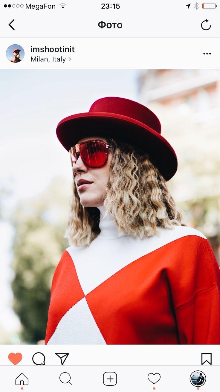 Anna Russka at Milan Fashion Week Street Style in Versace sunglasses #annarusska #streetstyle #milan #milanfashionweek #fashionweek #milanstreetstyle #Versace #sunglasses #borsalino #hat #redhat