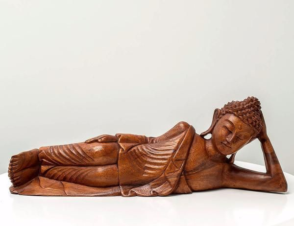 Reclining Buddha - Handcrafted masterpiece, wood sculpture from Bali. Spiritual decoration for unique places...  Lord Buddha is lying down and he is about to enter Nirvana. #art #bali #balinese #handcrafted #decoration #decorativeart #dekor #elyapımı #woodart #zanaat #buddha