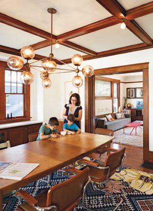 modern Jason Miller chandelier meets Craftsman interior. Hot, hot, hot!